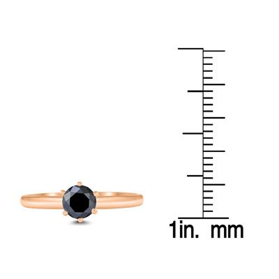 1/2 Carat Round Black Diamond Solitaire Ring in 14K Rose Gold