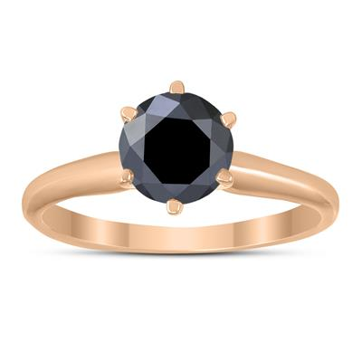 1 Carat Round Black Diamond Solitaire Ring in 14K Rose Gold