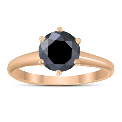 1 1/2 Carat Round Black Diamond Solitaire Ring in 14K Rose Gold