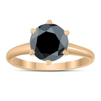 2 Carat Round Black Diamond Solitaire Ring in 14K Rose Gold
