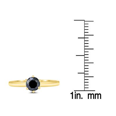 1/2 Carat Round Black Diamond Solitaire Ring in 14K Yellow Gold