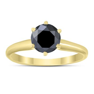 1 Carat Round Black Diamond Solitaire Ring in 14K Yellow Gold