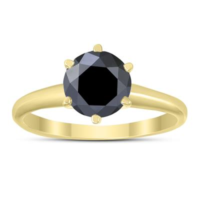 1 1/2 Carat Round Black Diamond Solitaire Ring in 14K Yellow Gold