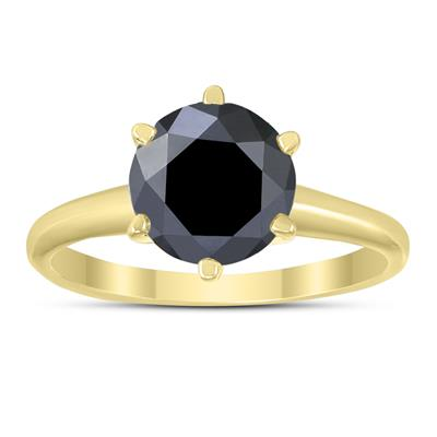 2 Carat Round Black Diamond Solitaire Ring in 14K Yellow Gold