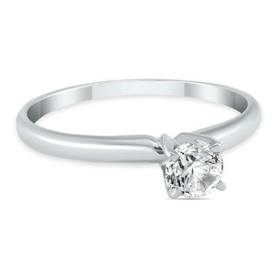 AGS Certified 1/4 Carat Round Diamond Solitaire Ring in 14K White Gold