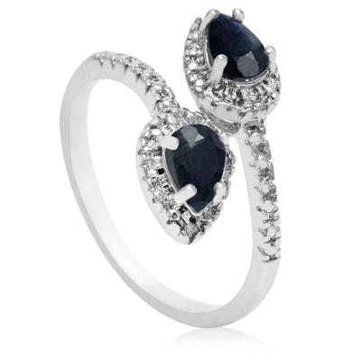 Pear Shaped Sapphire and Diamond Wrap Ring