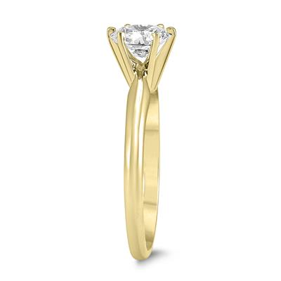 PREMIUM QUALITY - 3/4 Carat Diamond Solitaire Ring in 14K Yellow Gold (G-H Color, SI1-SI2 Clarity)