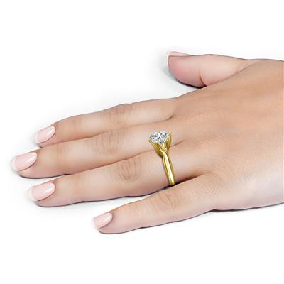 PREMIUM QUALITY - 1 Carat Diamond Solitaire Ring in 14K Yellow Gold (E-F Color, SI1-SI2 Clarity)