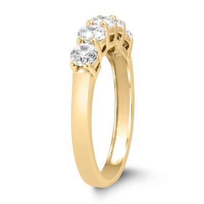 1 Carat TW Five Stone Diamond Wedding Band in 14K Yellow Gold