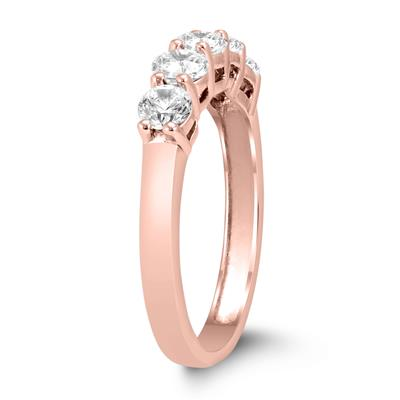 1 Carat TW Five Stone Diamond Wedding Band in 14K Rose Gold