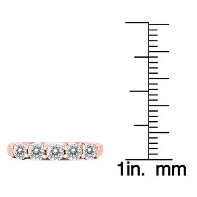1 Carat TW Five Stone Diamond Wedding Band in 14K Rose Gold