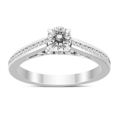 3/8 Carat TW Diamond Engagement Ring in 14K White Gold