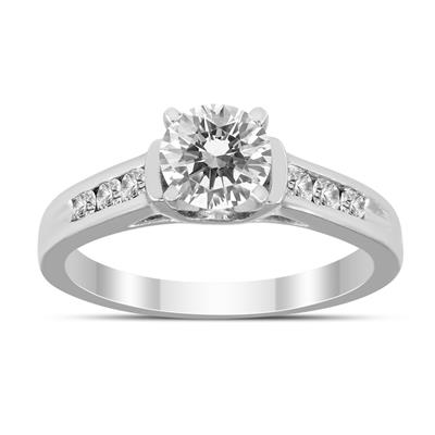 AGS Certified 1 Carat TW Diamond Engagement Ring in 14K White Gold (H-I Color, I1-I2 Clarity)
