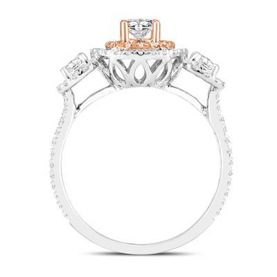 1 Carat TW Three Stone Diamond Halo Ring in 14K White with 14K Rose Gold