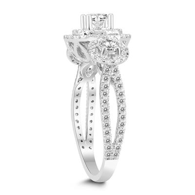 1 Carat TW Three Stone Diamond Halo Ring in 14K White Gold