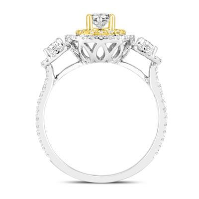 1 Carat TW Three Stone Diamond Halo Ring in 14K White with 14K Yellow Gold Accent