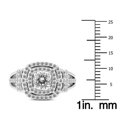 1 Carat TW Diamond Halo Roman Cross Engagement Ring in 14K White Gold