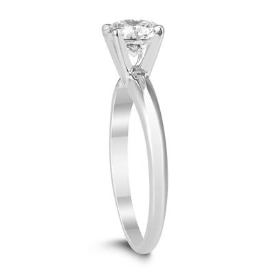 AGS Certified 1 Carat Diamond Solitaire Ring in 14K White Gold (H-I Color, I1-I2 Clarity)