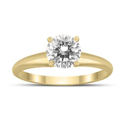 AGS Certified 1 Carat Diamond Solitaire Ring in 14K Yellow Gold (I-J Color, I2-I3 Clarity)