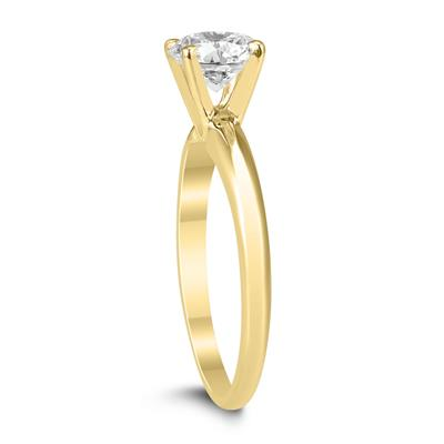 AGS Certified 1 Carat Diamond Solitaire Ring in 14K Yellow Gold (H-I Color, I1-I2 Clarity)