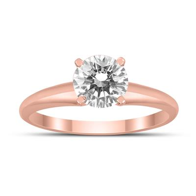 AGS Certified 1 Carat Diamond Solitaire Ring in 14K Rose Gold (I-J Color, I2-I3 Clarity)