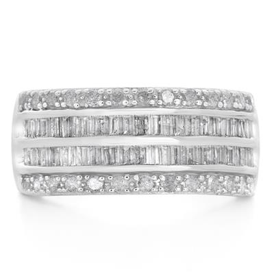 1 Carat Baguette and Round Diamond Band in .925 Sterling Silver