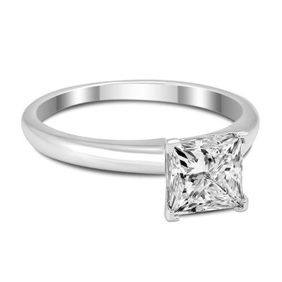 Signature Quality 1 Carat Princess Diamond Solitaire Ring in 14K White Gold (H-I, SI1-SI2)