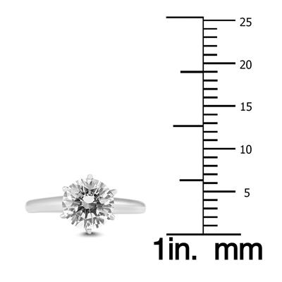 AGS Certified 1 1/2 Carat Diamond Solitaire Ring in 14K White Gold (I-J Color, I2-I3 Clarity)