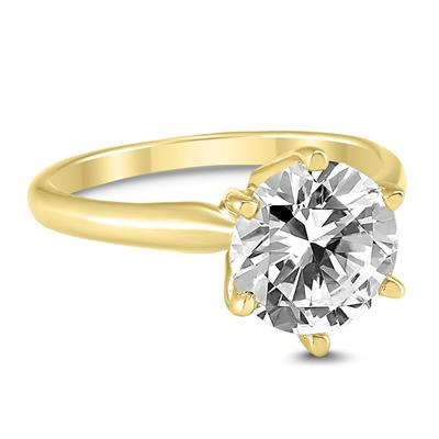 AGS Certified 1 1/2 Carat Diamond Solitaire Ring in 14K Yellow Gold (I-J Color, I2-I3 Clarity)