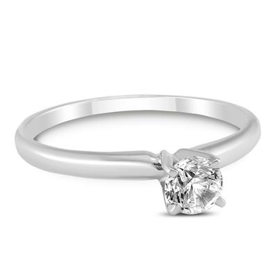 AGS Certified (J-K Color, SI1-SI2 Clarity) 1/4 Carat Round Diamond Solitaire Ring in 14K White Gold