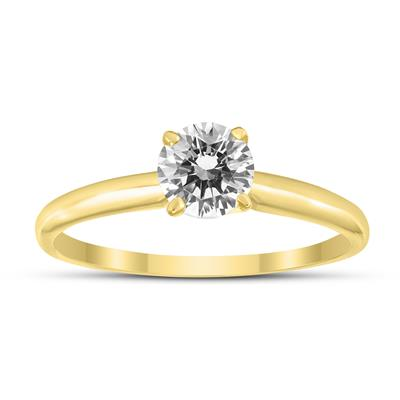 AGS Certified (J-K Color, SI1-SI2 Clarity) 1/4 Carat Round Diamond Solitaire Ring in 14K Yellow Gold