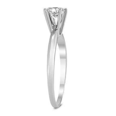 AGS Certified (J-K Color, SI1-SI2 Clarity) 1/3 Carat Round Diamond Solitaire Ring in 14K White Gold