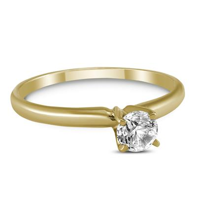AGS Certified (J-K Color, SI1-SI2 Clarity) 1/3 Carat Round Diamond Solitaire Ring in 14K Yellow Gold