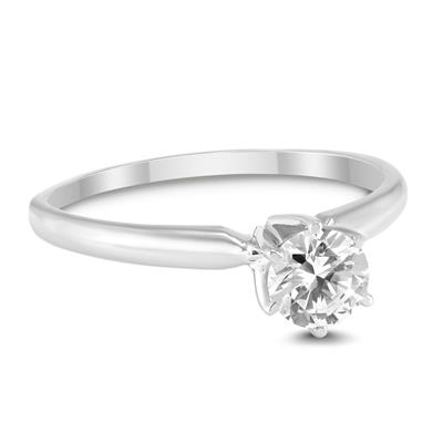 AGS Certified (J-K Color, SI1-SI2 Clarity) 1/2 Carat Round Diamond Solitaire Ring in 14K White Gold