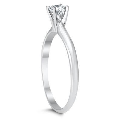 AGS Certified 1/4 Carat Round Diamond Solitaire Ring in 14K White Gold (H-I Color, SI1-SI2 Clarity)