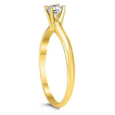 AGS Certified 1/4 Carat Round Diamond Solitaire Ring in 14K Yellow Gold (H-I Color, SI1-SI2 Clarity)