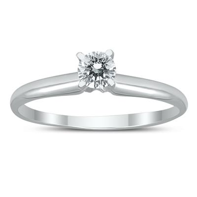 AGS Certified 1/3 Carat Round Diamond Solitaire Ring in 14K White Gold (H-I Color, SI1-SI2 Clarity)