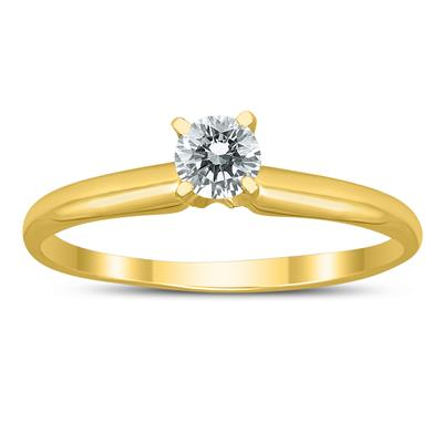 AGS Certified 1/3 Carat Round Diamond Solitaire Ring in 14K Yellow Gold (H-I Color, SI1-SI2 Clarity)