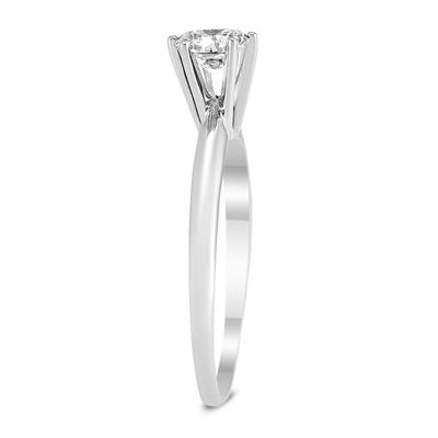 AGS Certified 1/2 Carat Round Diamond Solitaire Ring in 14K White Gold (H-I Color, SI1-SI2 Clarity)