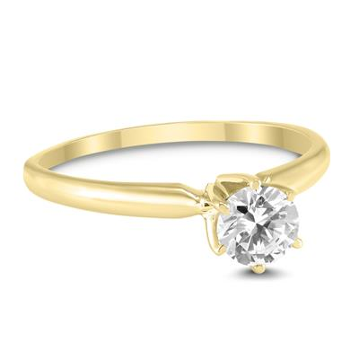 AGS Certified 1/2 Carat Round Diamond Solitaire Ring in 14K Yellow Gold (H-I Color, SI1-SI2 Clarity)