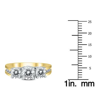 AGS Certified 2 Carat TW Diamond Three Stone Ring in 14K Two Tone Gold
