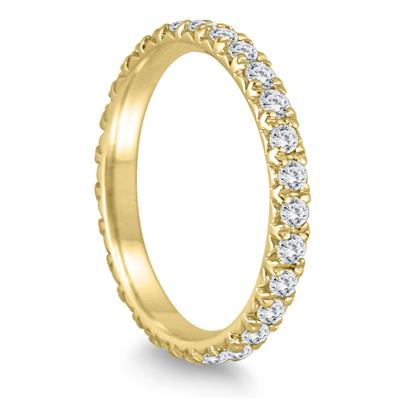 1 3/8 Carat TW Diamond Eternity Wedding Band in 14K Yellow Gold