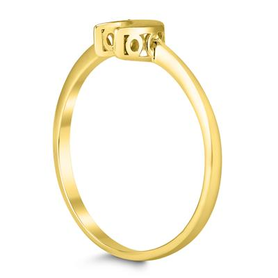 14K Yellow Gold and Diamond Accent Moon Ring