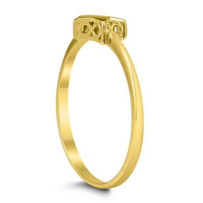 14K Yellow Gold and Diamond Star Ring