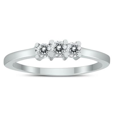 AGS Certified 1/4 Carat TW Three Stone Diamond Ring in 10K White Gold