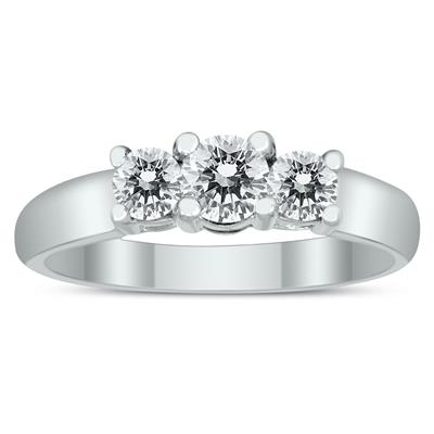 AGS Certified 3/4 Carat TW Three Stone Diamond Ring in 10K White Gold