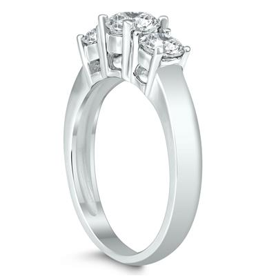 AGS Certified 1 1/2 Carat TW Three Stone Diamond Ring in 14K White Gold