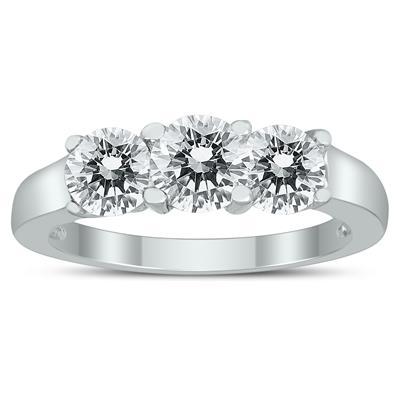 AGS Certified 2 Carat TW Three Stone Diamond Ring in 14K White Gold