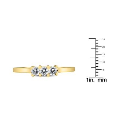 AGS Certified 1/4 Carat TW Three Stone Diamond Ring in 10K Yellow Gold