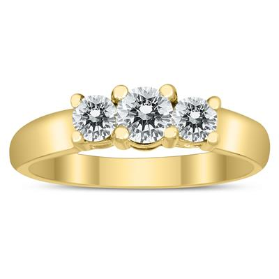 AGS Certified 3/4 Carat TW Three Stone Diamond Ring in 10K Yellow Gold